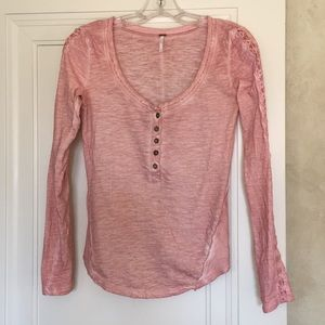 Free People Embellished Sleeve Top Mineral Pink XS